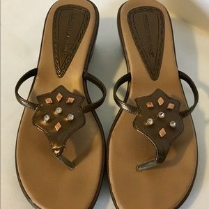 Montego Bay Club Brown Wedge Sandals Womens 7.5